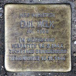 Photo of Emil Wölk brass plaque