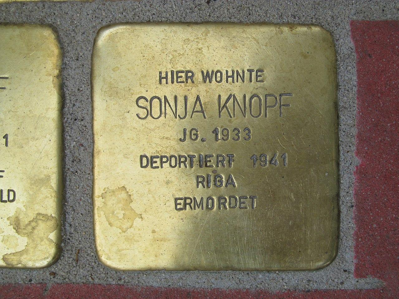 Stolperstein Sonja Knopf, 1, Mittelgasse 1, Mitte, Kassel.jpg