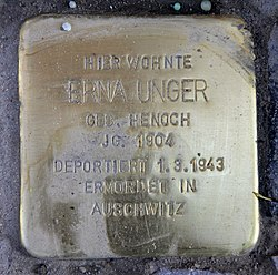 Photo of Erna Unger brass plaque