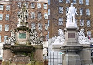 Five Ways, Birmingham - Before and after: The end result of cleanup work on the Joseph Sturge memorial at Five Ways.