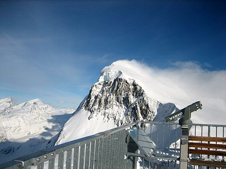 View from the summit towards the Breithorn Summit.jpg