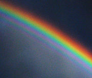 Refractive phenomena, such as this rainbow, are due to the slower speed of light in a medium (water, in this case).