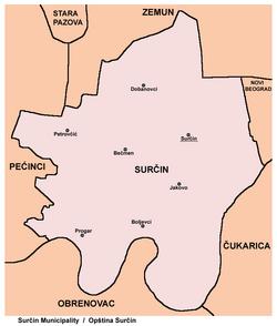 surcin mapa Surčin   Wikipedia surcin mapa