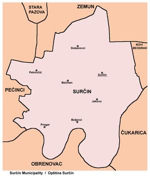 Surčin - Map of Surčin municipality