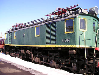 """Railway electrification in the Soviet Union -  Electric locomotive made in USSR in 1933 (designed in USA by GE)— """"Suramsky Soviet"""",  the 14th unit made"""