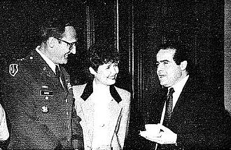 William K. Suter - A 1988 photograph of Major General Suter and his wife meeting Supreme Court Associate Justice Antonin Scalia