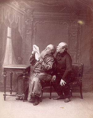 Alexander Ostrovsky - Konstantin Rybakov (as Bolshov) and Vladimir Maksheyev (as Rispolozhensky) in Ostrovsky's Family Affair. Maly Theatre, 1892