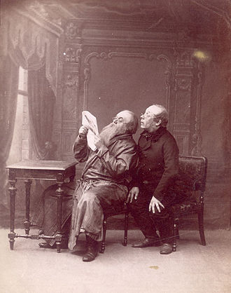 Alexander Ostrovsky - Konstantin Rybakov (as Bolshov) and Vladimir Maksheyev (as Rispolozhensky) in Ostrovsky's Family Affair. Maly Theatre, 1892