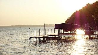 Sylvan Lake (Alberta) - A pier on Sylvan Lake at sunset