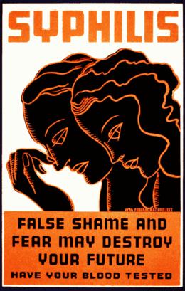 Poster per il test della sifilide, che mostra un uomo e una donna chinando la testa per la vergogna