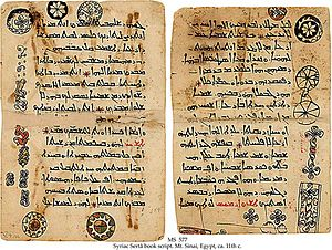 Melkite - 11th-century Melchite Hirmologion written in Syriac Sertâ book script, from Saint Catherine's Monastery, Mount Sinai, now part of the Schøyen Collection.