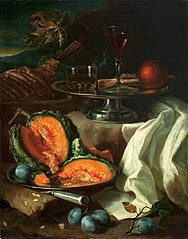 Still life with a musk melon.