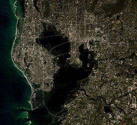 A simulated-color satellite image of the Tampa Bay Area. Taken November 3, 2015 with NASA's Landsat 8 satellite.
