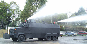 Riot control - Colombian Police armored riot control vehicle with water cannon ISBI