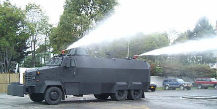 Colombian Police armored riot control vehicle with water cannon ISBI Tanqueta.jpg
