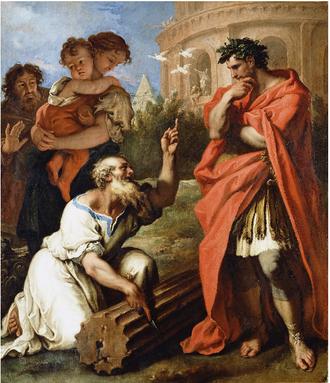 Tarquinia (gens) - Sebastiano Ricci, Tarquin the Elder consulting Attius Navius (1690).