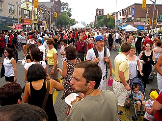 "Danforth Avenue - ""Taste of the Danforth"" attracts one million visitors over three days every August."