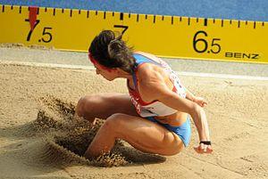 Tatyana Lebedeva - Lebedeva leaping at the Berlin World Championships in 2009.