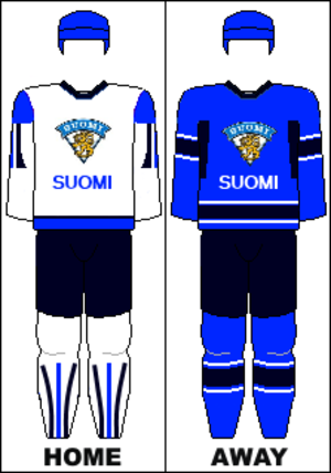 Finland men's national ice hockey team - Team Finland's jerseys used until 2014 (outside of Olympic competition).