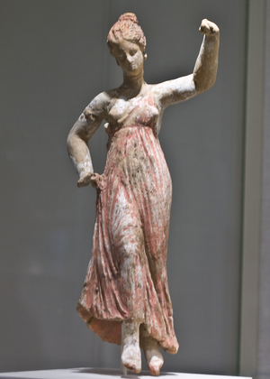 Greek terracotta statuette of a dancing maenad...