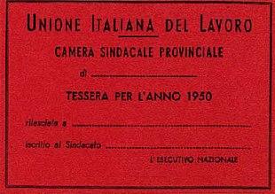 La prima tessera d'iscrizione alla UIL (1950)