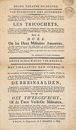 Announcement of two pieces by August von Kotzebue performed at the theater of Bruges on 8 August 1813 (Source: Wikimedia)