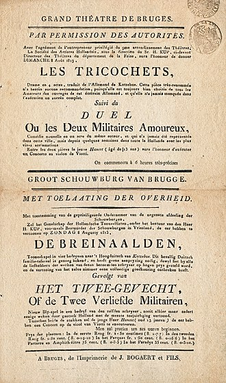 August von Kotzebue - Announcement of two pieces by August von Kotzebue performed at the theater of Bruges on 8 August 1813