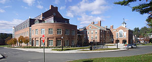 Thayer School of Engineering - The two buildings currently comprising the Thayer School are the MacLean Engineering Sciences Center (left) and Horace Cummings Memorial Hall (right).