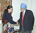 The Chief Minister of Rajasthan, Smt. Vasundhara Raje Scindia meeting with the Deputy Chairman, Planning Commission, Shri Montek Singh Ahluwalia to finalize Annual Plan 2006-07 of the State, in New Delhi on January 12, 2006 (2).jpg