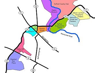 DuPont Historic Corridor - Map of the history of the DuPont family and company along Delaware Route 141