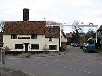 Barley, Hertfordshire - The Fox and Hounds with its distinctive sign