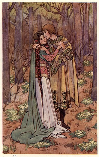Brunor - The Knight of the Ill-Shapen Coat Chooses His Bride, Helen Stratton's illustration for King Arthur and His Knights (1910)