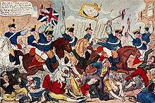 Karikatuur van de yeomanry bij de Peterloo Massacre