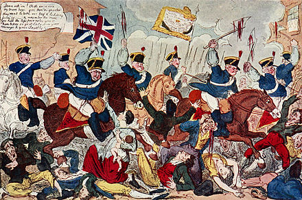 The Massacre of Peterloo by caricaturist George Cruikshank The Massacre of Peterloo.jpg