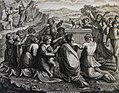 The Phillip Medhurst Picture Torah 451. Worshipping the golden calf. Exodus cap 32 vv 5-6. Pozzi.jpg
