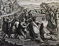 The Phillip Medhurst Picture Torah 451. Worshipping the golden calf. Exodus cap 32 vv 5-6. Pozzi.jpg
