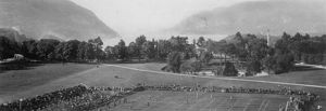 The Plain (West Point) - Football on the Plain, c1900.  Execution Hollow is clearly visible just above the diagonal walkway in the mid-right of this picture.  Battle Monument is on the back right side of it.