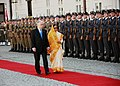 The President, Smt. Pratibha Devisingh Patil inspecting the Guard of Honour during a ceremonial reception given to her at Presidential Palace in Warsaw, Poland on April 24, 2009.jpg