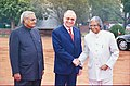 The President of Romania Mr. Ion Iliescu being received by the President Dr. A.P.J. Abdul Kalam and the Prime Minister Shri Atal Bihari Vajpayee at a Ceremonial Reception in New Delhi on January 31, 2004.jpg
