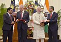 The Prime Minister, Shri Narendra Modi and the Prime Minister of Malaysia, Dato' Sri Mohd Najib Bin Tun Abdul Razak witnessing the exchange of agreements, at Hyderabad House, in New Delhi on April 01, 2017 (2).jpg