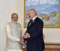 The Prime Minister, Shri Narendra Modi in a bilateral meeting with the President of Belarus, Mr. Alexander Lukashenko, in Tashkent, Uzbekistan on June 24, 2016.jpg