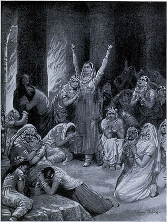 Jauhar - The Rajput ceremony of Jauhar, 1567, as depicted by Ambrose Dudley in Hutchinsons History of the Nations, c.1910