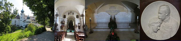 Arstetten Castle, its Chapel, and the final resting place of the couple, showing each resting at equal heights.