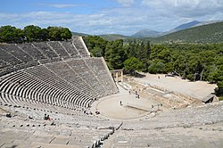 The great theater of Epidaurus, designed by Polykleitos the Younger in the 4th century BC, Sanctuary of Asklepeios at Epidaurus, Greece (14015010416).jpg