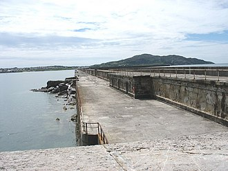 Holyhead Breakwater Lighthouse - Image: The lower level of the Holyhead Breakwater from the lighthouse geograph.org.uk 875456