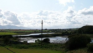 Downpatrick, Killough and Ardglass Railway - The old railway embankment across the head of Killough Harbour