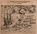 Theodor de bry (incisore) in hans staden e jean de lery, americae tertia pars, 1592 veduta del porto e dell'isola di snata catarina.jpg
