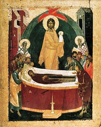 Dormition of the Mother of God - Icon of the Dormition by Theophan the Greek, 1392. The Theotokos is depicted lying on a bier, surrounded by the Twelve Apostles. At center, Jesus Christ is shown in a mandorla, swaddling the soul of the Virgin Mary (a red seraph is shown above his head). To either side of him are depicted the Hieromartyrs Dionysius the Areopagite and Ignatius the God-Bearer who, according to tradition, are responsible for transmitting the account of the dormition.