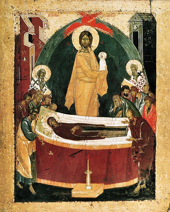 Icon of the Dormition by Theophan the Greek, 1392. Theofanus uspenie.jpg