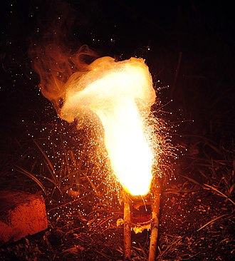 Chemical reaction - A thermite reaction using iron(III) oxide. The sparks flying outwards are globules of molten iron trailing smoke in their wake.